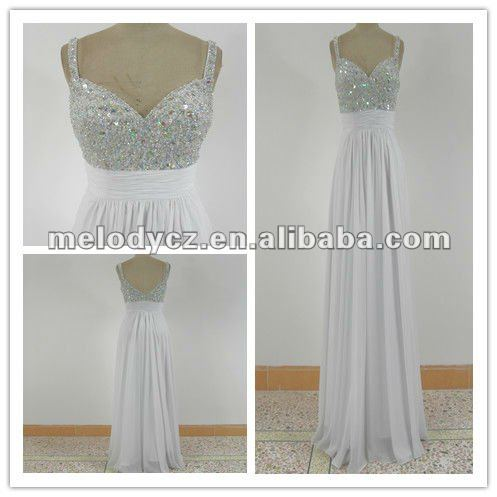 Pure white chiffon long sexy beaded chest sweethart korean dresses new fashion
