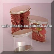 empty small clear PVC Oval Tin Can