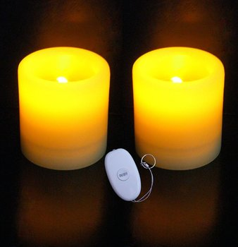 "Set of 2 Remote Control Battery Operated Candles - 3""x 3"""