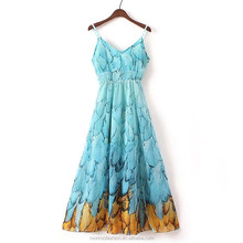 monroo 2017 summer new print halter straps Slim sleeves long section chiffon harness dress