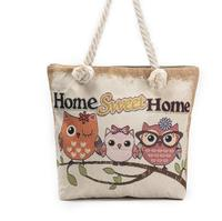 Owl Canvas Bag Summer Beach Handbag Women Casual Shopping Travel Bag