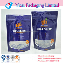 2016 Glossy shiny foil plastic stand up clear window ziplock chia seeds food packaging