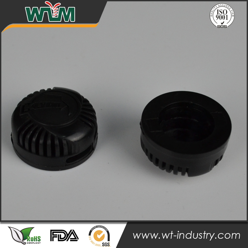 Custom injection mold made screw plastic molding part swing top bottle caps with ribbed sides