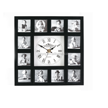 big size square photo frame wall clock for home decor
