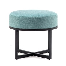 Cheaper Metal Fabric Covered Round Footrest Stool Ottoman with Metal Legs for Home <strong>Furniture</strong> Use