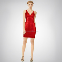 2014 Hot selling Red gold printing Deep V Neck Sexy classic bandage dress Christmas evening dress