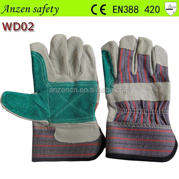china supplier buffalo double palm leather work glove
