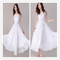 Free Shipping White Long Spanish Style Chiffon Evening Dress For Fat Women
