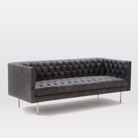 Antique Chesterfield High Back Tufted Sofa Vintage Living Home Leather Sofa