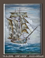famous sea paintings, sea and boat oil painting, wall art pictures for hotels, handmade oil painting