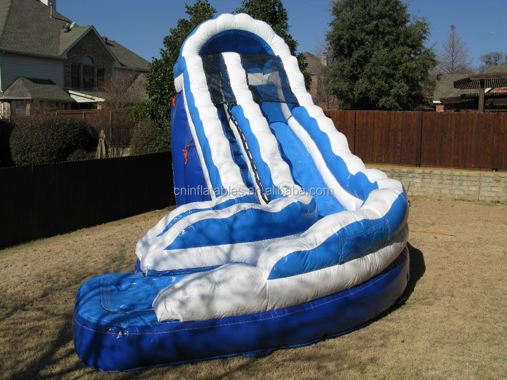 popular inflatable blue curve water slide on sale