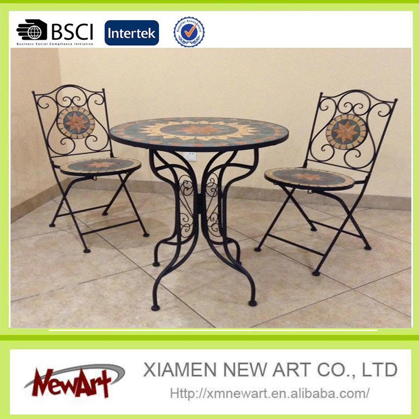2016 new arrive cheap wrought iron outdoor garden table and chair