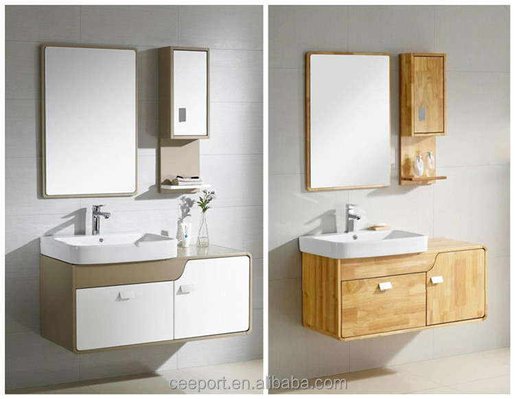 Classic wooden Chinese style Wall top bathroom mirrored corner cabinet