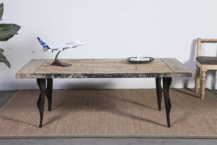 antique recycled elm wood metal coffee table