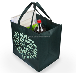 extra-large reusable green non woven foldable bag with printed