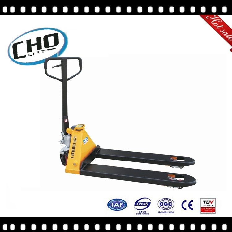 Cholift factory low profile adjustable 2 Ton hand hydraulic pallet truck with scale