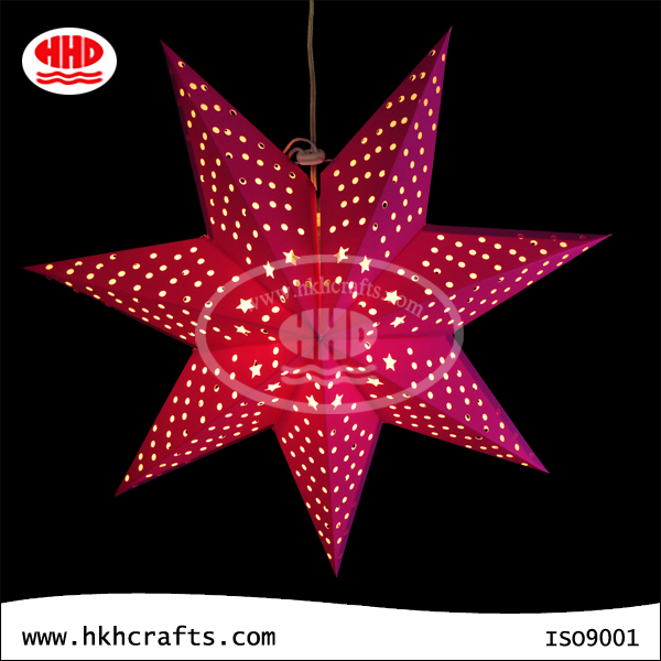 Outdoor decoration 7 points purple punching hole hanging paper star lanterns