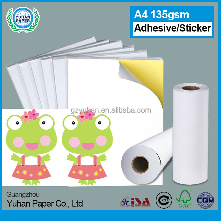 Wholesale cheap a4 135gsm cast coated waterproof sticker paper self adhesive sticker high glossy photo paper