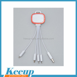 Best material quick charging flashing cable USB data OEM 4 in 1 cable