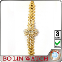 Top quality luxury design from international brand real 18K gold watch for ladies