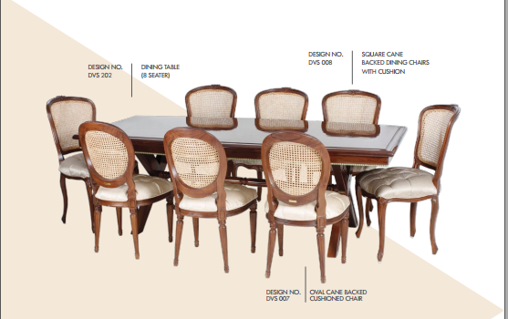 Square Cane Backed Dinning Chairs With Cushion