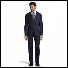Made To Measure Fashionable Style Notch Lapel Two Buttons Slim Fit Full Canvas Navy Blue Striped 3PCS Man Suit