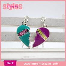 New Design Fancy Green Purple BFF Couple Necklace
