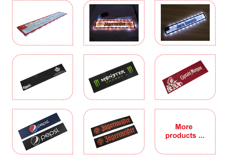 Custom pvc led bar mat glowing in dark for promotions