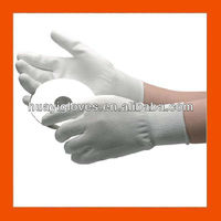 White Lint Free ESD Nylon Gloves with PU on Palm