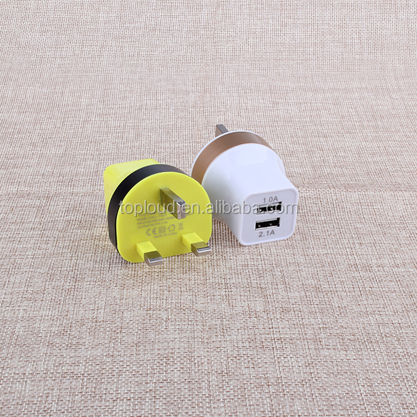 3-Pin UK plug high speed 2-port usb cell phone wall charger