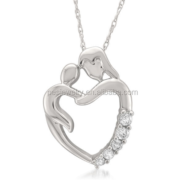 PES fashion jewelry! White Gold Mother and Child Diamond Pendant Necklace (PES3-1187)