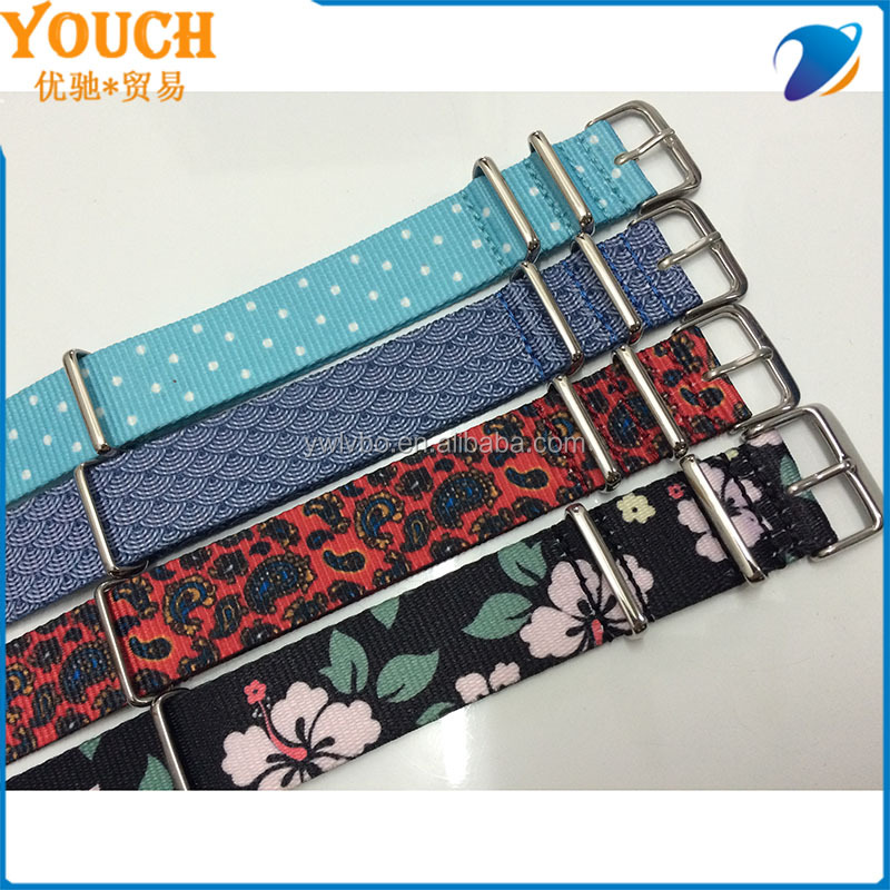 20mm Double Graphic Printed Vintage Paisley watch strap Pattern Nylon Zulu Watch Strap custom printed watch strap