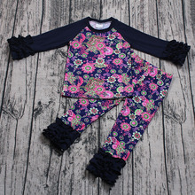 Wholesale vintage style kids girls clothing set flower print ruffle tops icing pants boutique outfits children raglan sleeve set