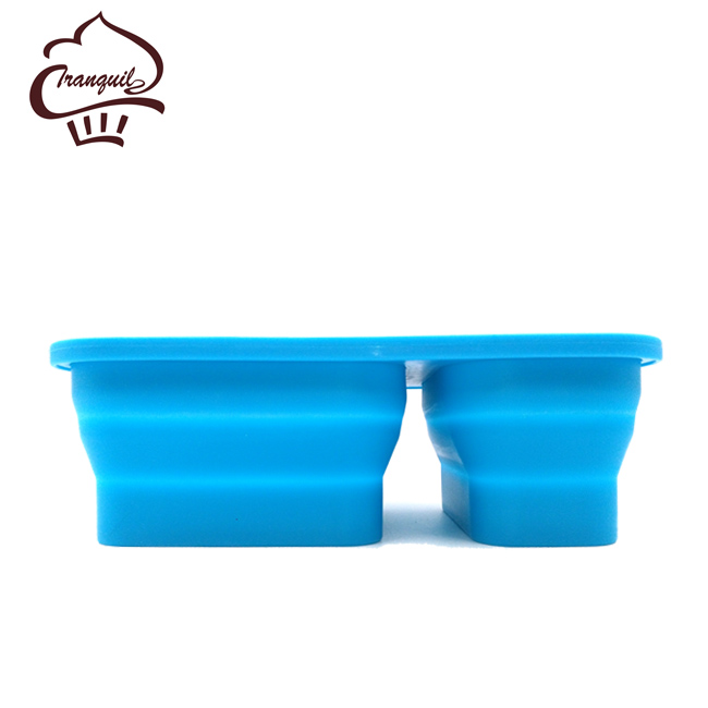 1000ml 2 compartments collapsible silicone lunch box with tableware