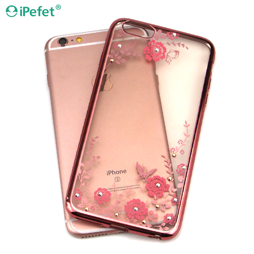 Ultra Thin Soft TPU Secret Garden Diamond Flower Cover For Cell For iPhone 7