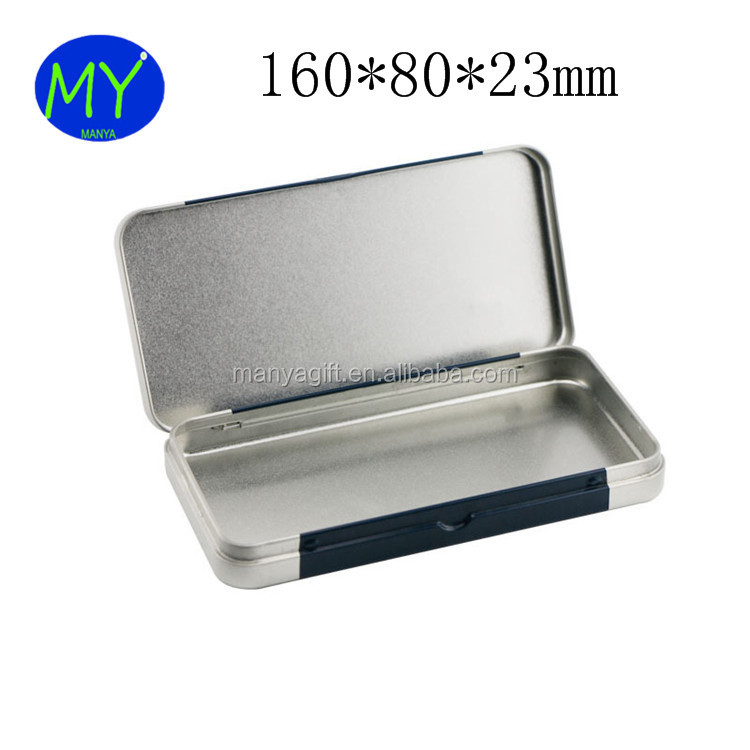 160*80*23mm High Quality Hinged Stationery Metal Box For Pencils