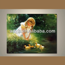 Hot order handpainted living room colorful child picture on canvas