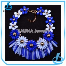 New designs statement blue resin hawaiian foam flowers necklace