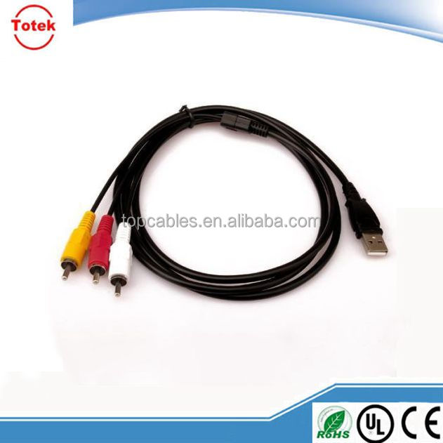 USB male to 3 RCA 3rca RGB male Video Converter Cable