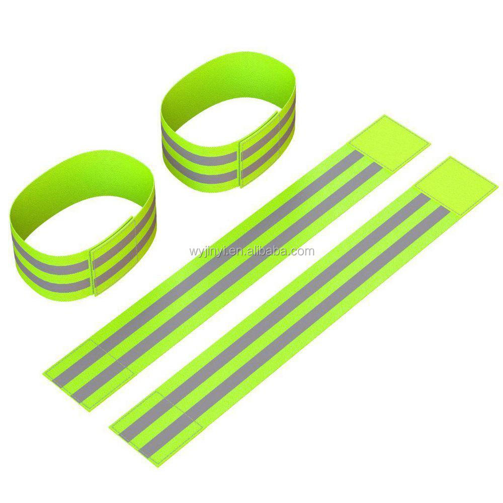 Newest stretchy 100% polyester elastic green hi vis reflective safety wrist bands
