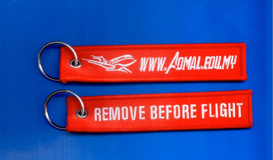 Embroidered keychain / REMOVE BEFORE FLIGHT