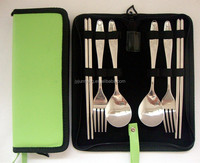 Stainless Steel Spoon Fork Chopstick 6PCS Portable Travel Cutlery Set