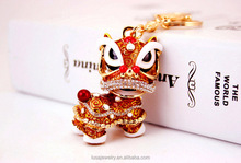 High quality Chinese style enamel lion dancing charm pendant rhinestone keychain for bag KEL0147