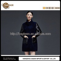 Genuine Lamb Fur Coat With Leather Sleeves