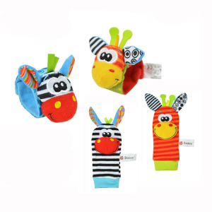 4 Pieces Giraffe zebra soft baby wrist rattle socks