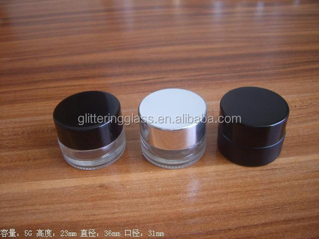 4 oz glass jars for cosmetics with plastic insert to keep contents from spilling