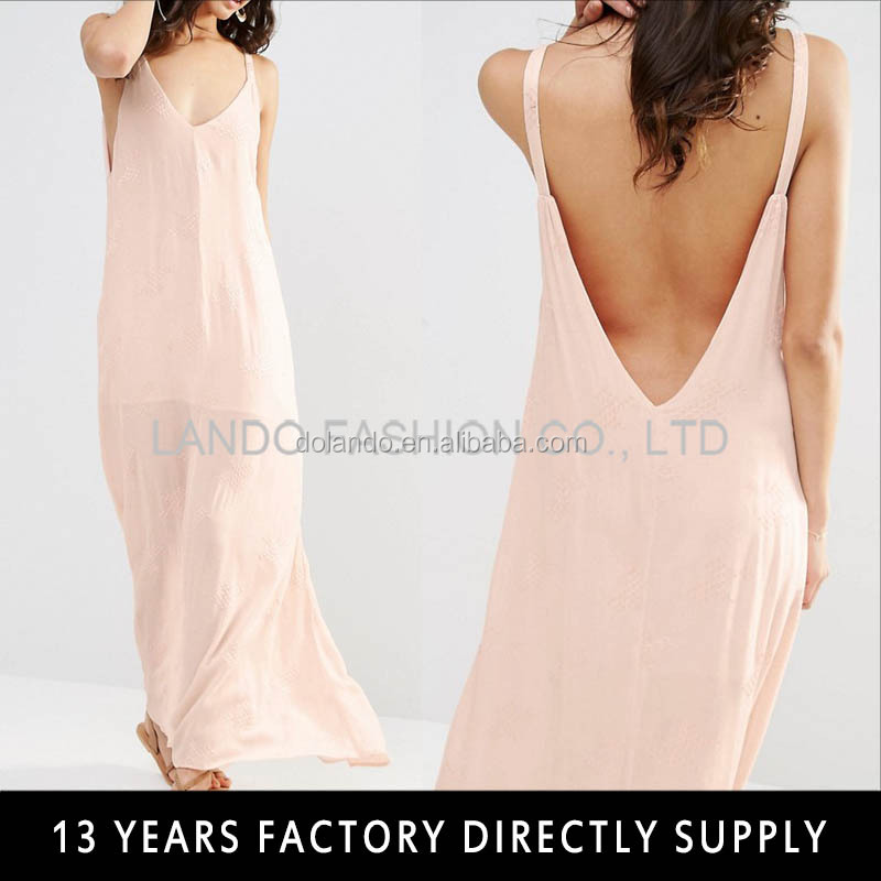 Sexy open back straps maxi chiffon ladies long casual dresses pictures