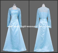 L6002 Light Blue Long Sleeves Fashion Applique Mother of the Bride Lace Dresses with Jacket