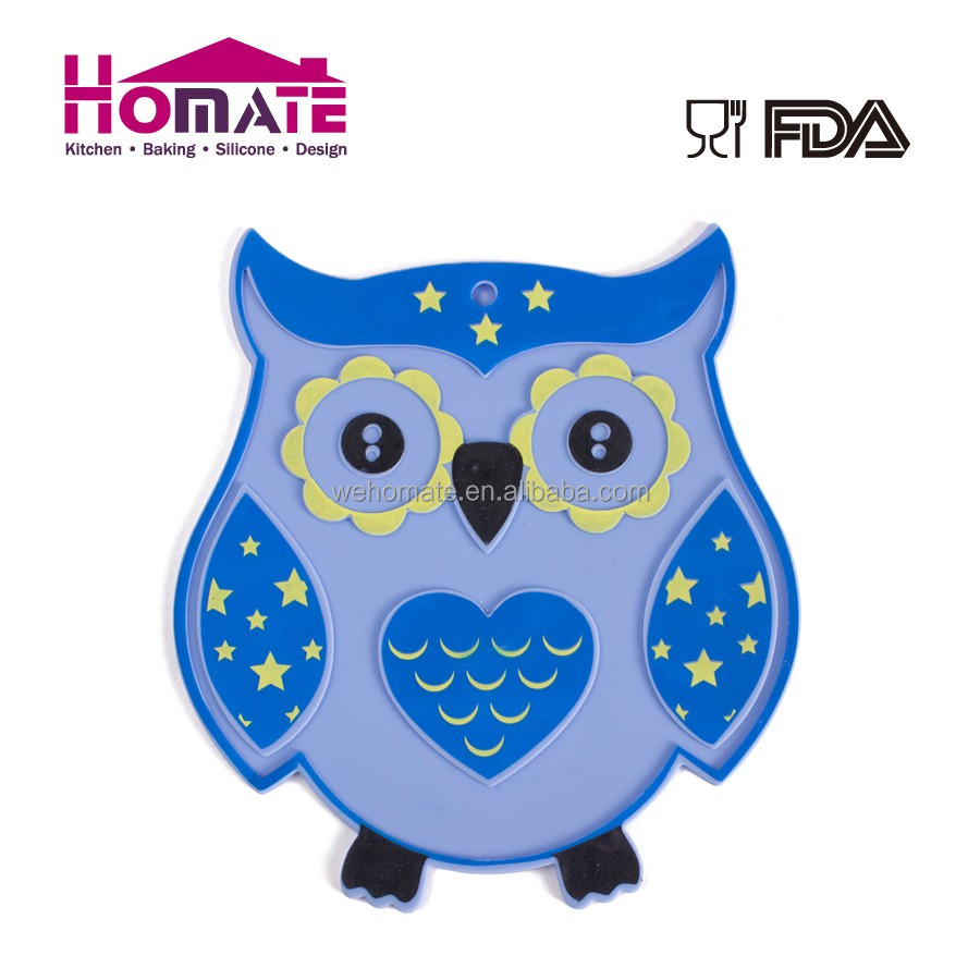 Silicone printing pot mat in owl shape fashion made silicone induction cooker mat