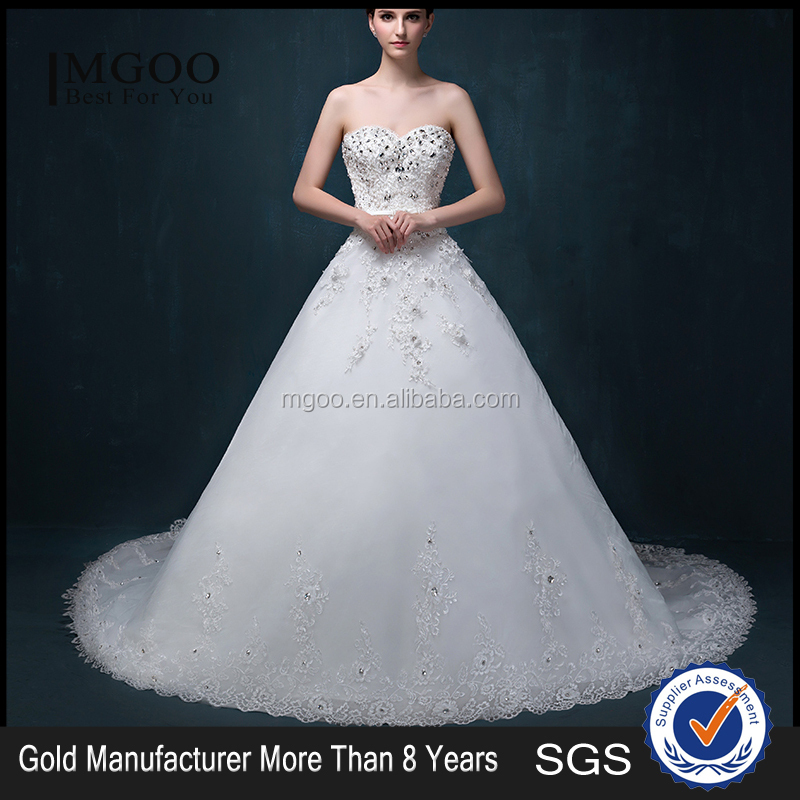 MGOO Latest Design Crystal Applique Lace Wedding Dress Empire Strapless Ball Gown Custom Made Dresses 2050